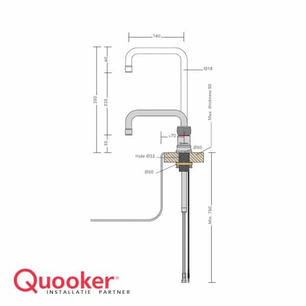 Quooker Classic Nordic square single tap incl montage