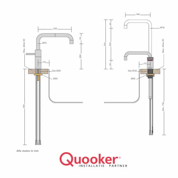 QUOOKER NORDIC TWINTAPS SQUARE PRO3