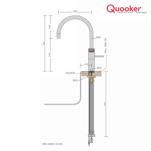 Quooker Nordic Round Single tap PRO3-VAQ